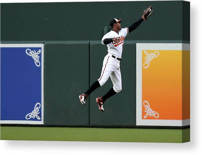 Second Inning Canvas Print featuring the photograph Adam Jones by Patrick Smith