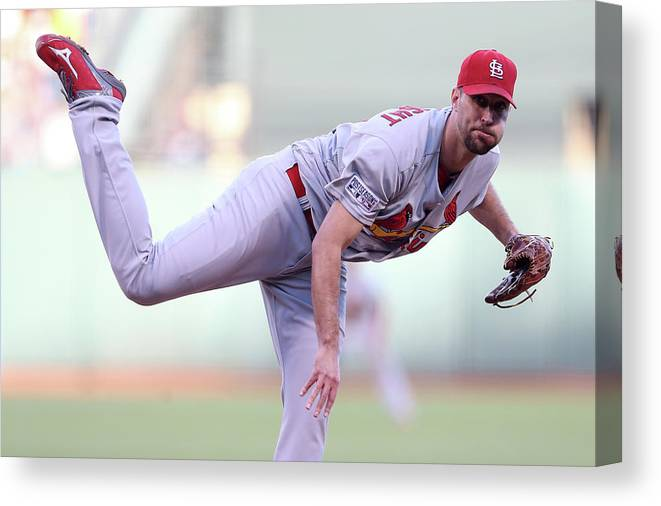 St. Louis Cardinals Canvas Print featuring the photograph Adam Wainwright by Christian Petersen