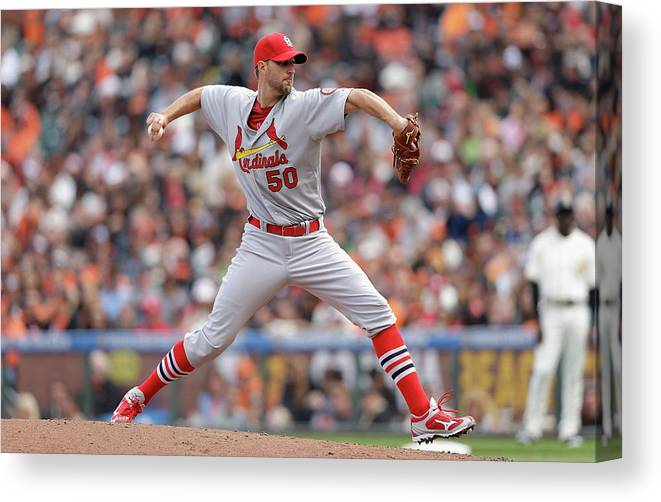 St. Louis Cardinals Canvas Print featuring the photograph Adam Wainwright by Ezra Shaw