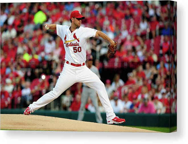 St. Louis Cardinals Canvas Print featuring the photograph Adam Wainwright by Jeff Curry