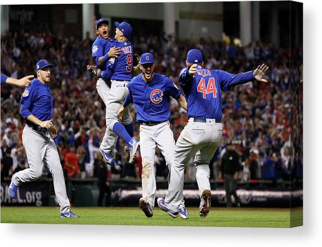 People Canvas Print featuring the photograph Addison Russell, Kris Bryant, and Javier Baez by Ezra Shaw