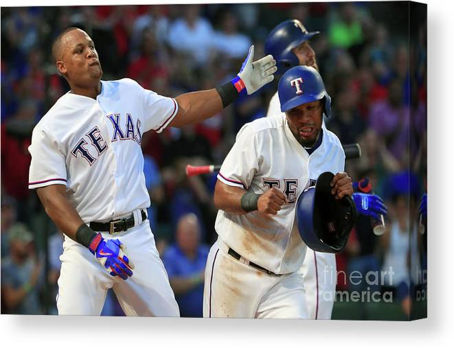 Headwear Canvas Print featuring the photograph Adrian Beltre and Elvis Andrus by Tom Pennington