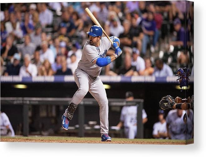 Los Angeles Dodgers Canvas Print featuring the photograph Adrian Gonzalez by Dustin Bradford