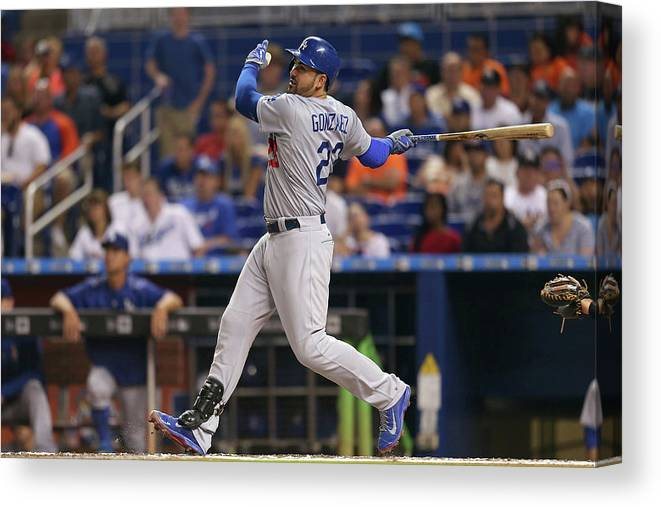 People Canvas Print featuring the photograph Adrian Gonzalez by Rob Foldy