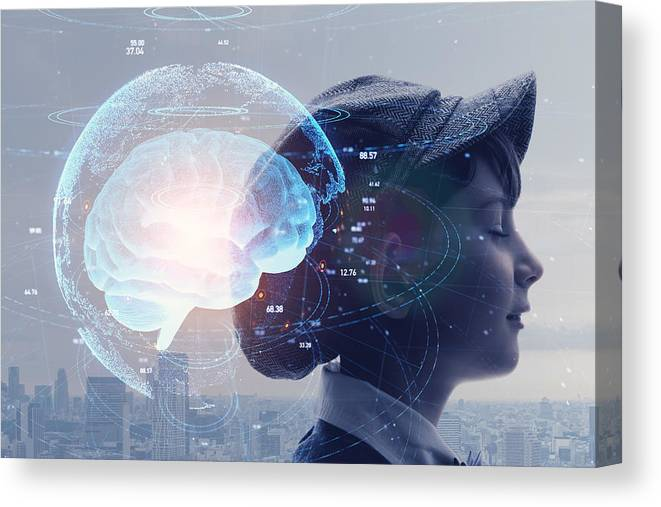 Internet Canvas Print featuring the photograph AI (Artificial Intelligence) concept. Education concept. by Metamorworks