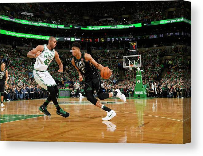 Playoffs Canvas Print featuring the photograph Al Horford and Giannis Antetokounmpo by Brian Babineau