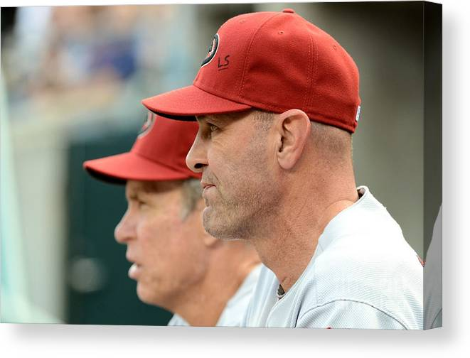 American League Baseball Canvas Print featuring the photograph Alan Trammell and Kirk Gibson by Mark Cunningham