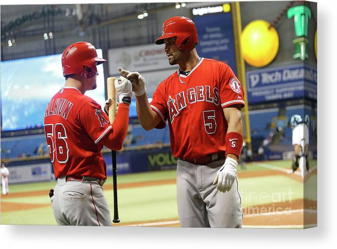 Ninth Inning Canvas Print featuring the photograph Albert Pujols And Kole Calhoun by Brian Blanco