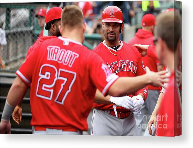 People Canvas Print featuring the photograph Albert Pujols and Mike Trout by Gregory Shamus