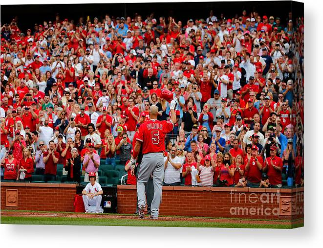 St. Louis Cardinals Canvas Print featuring the photograph Albert Pujols by Dilip Vishwanat
