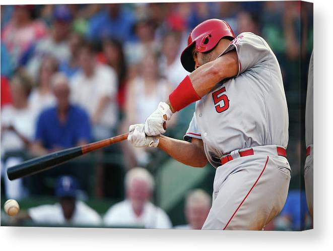 Three Quarter Length Canvas Print featuring the photograph Albert Pujols by Tom Pennington