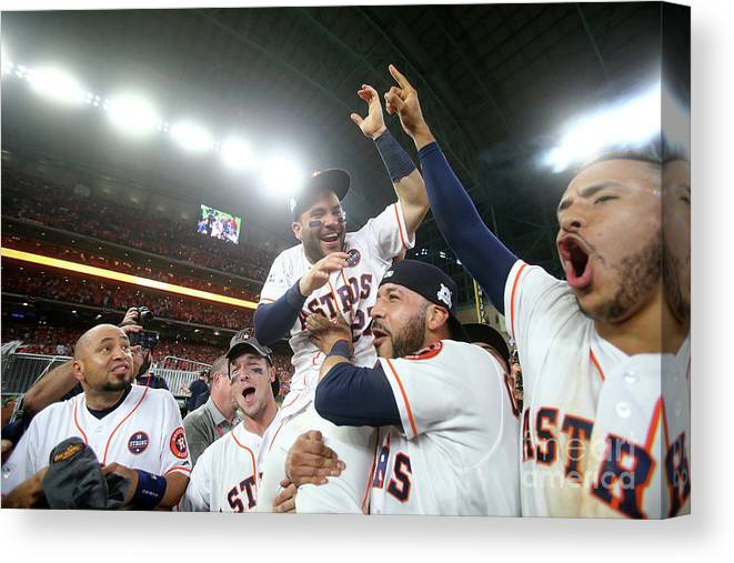 Alex Bregman Canvas Print featuring the photograph Alex Bregman and Carlos Correa by Elsa