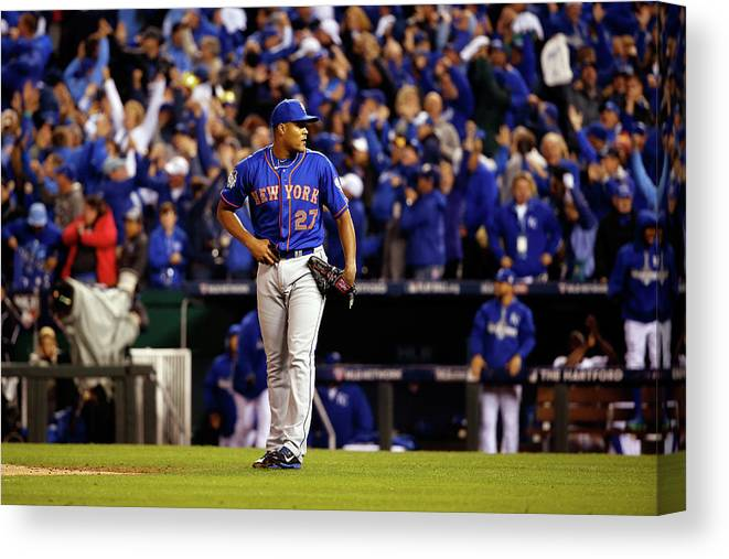 Ninth Inning Canvas Print featuring the photograph Alex Gordon and Jeurys Familia by Sean M. Haffey