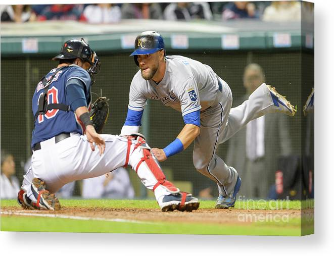 Baseball Catcher Canvas Print featuring the photograph Alex Gordon and Yan Gomes by Jason Miller