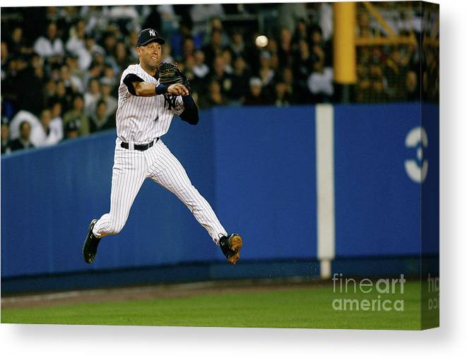 People Canvas Print featuring the photograph Alex Rios and Derek Jeter by Jeff Zelevansky
