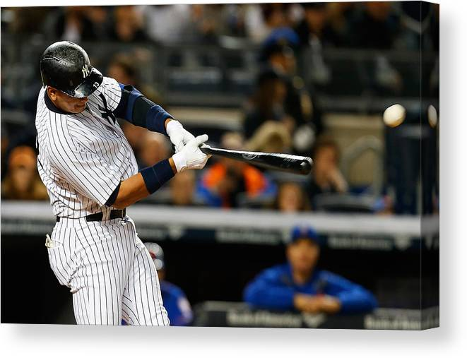 Three Quarter Length Canvas Print featuring the photograph Alex Rodriguez by Mike Stobe