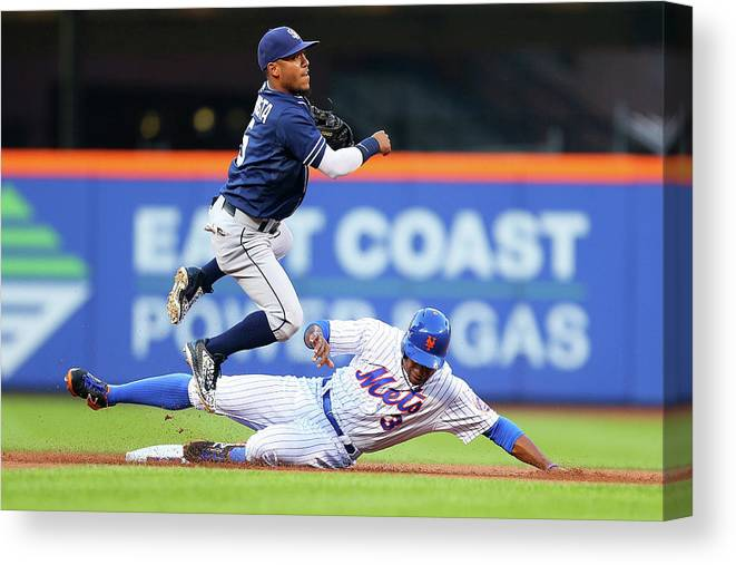 Double Play Canvas Print featuring the photograph Alexi Amarista and Curtis Granderson by Mike Stobe