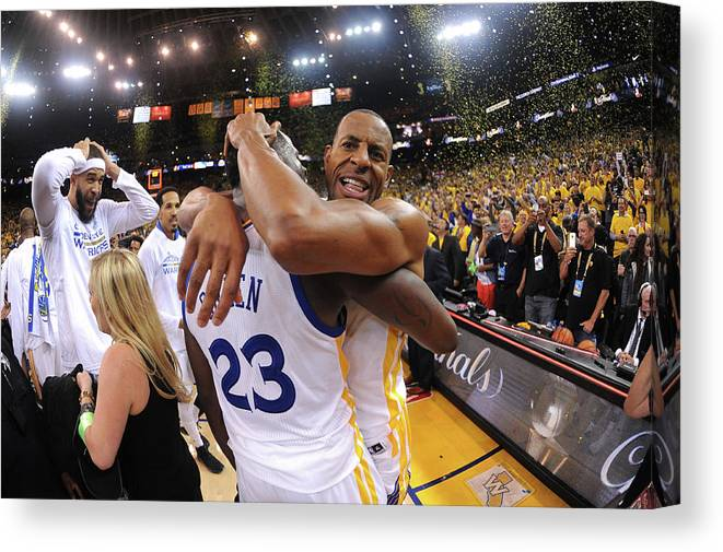 Playoffs Canvas Print featuring the photograph Andre Iguodala and Draymond Green by Noah Graham