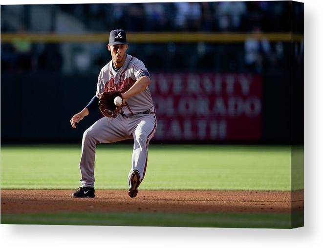 Ball Canvas Print featuring the photograph Andrelton Simmons and Drew Stubbs by Justin Edmonds