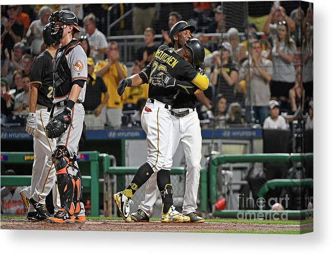 Second Inning Canvas Print featuring the photograph Andrew Mccutchen and Starling Marte by Justin Berl
