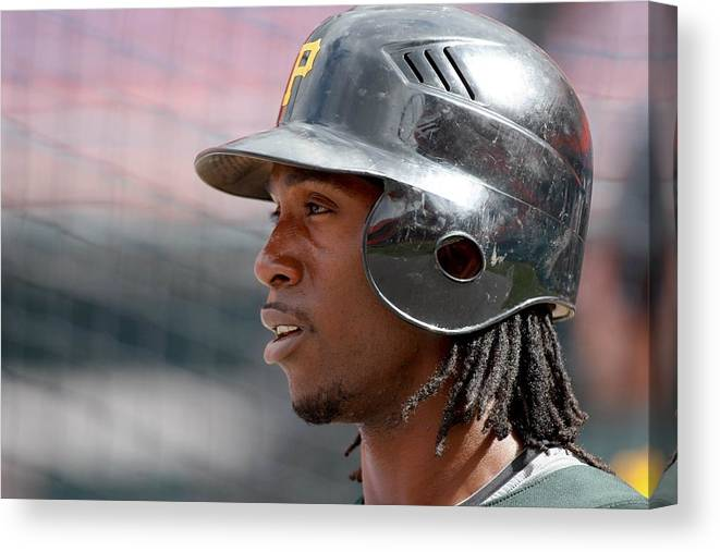 Hard Rock Stadium Canvas Print featuring the photograph Andrew Mccutchen by Ronald C. Modra/sports Imagery