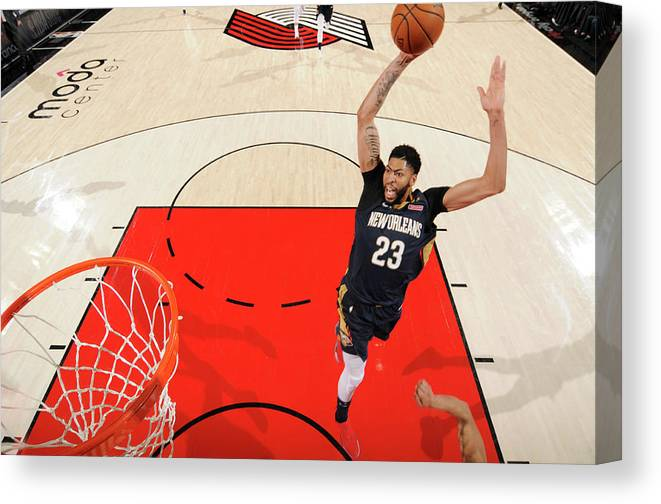 Playoffs Canvas Print featuring the photograph Anthony Davis by Cameron Browne