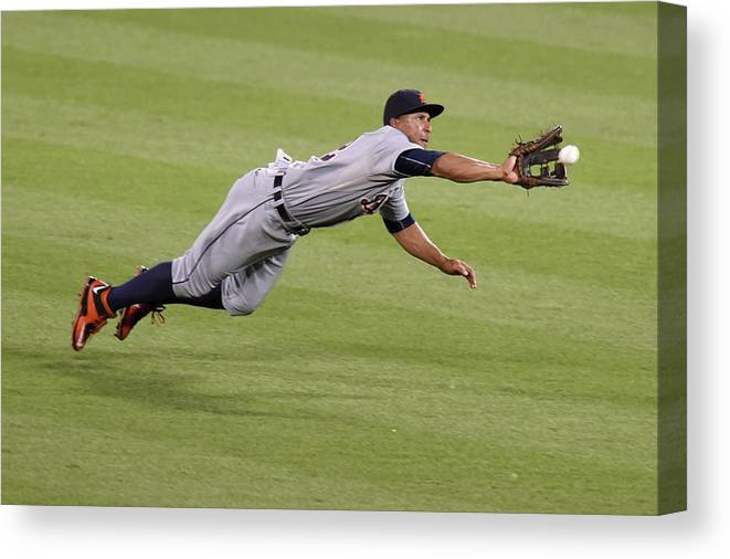 People Canvas Print featuring the photograph Anthony Gose and Adam Jones by Mitchell Layton