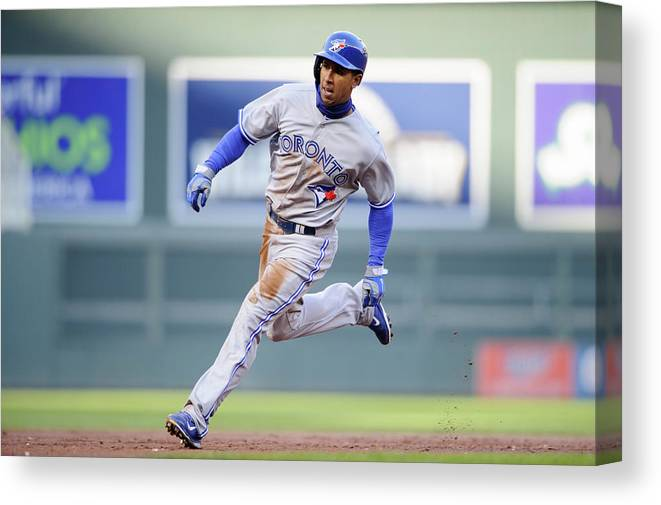 Game Two Canvas Print featuring the photograph Anthony Gose by Hannah Foslien