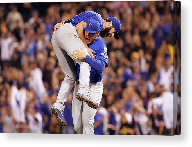 Playoffs Canvas Print featuring the photograph Anthony Rizzo and Jake Arrieta by Justin K. Aller