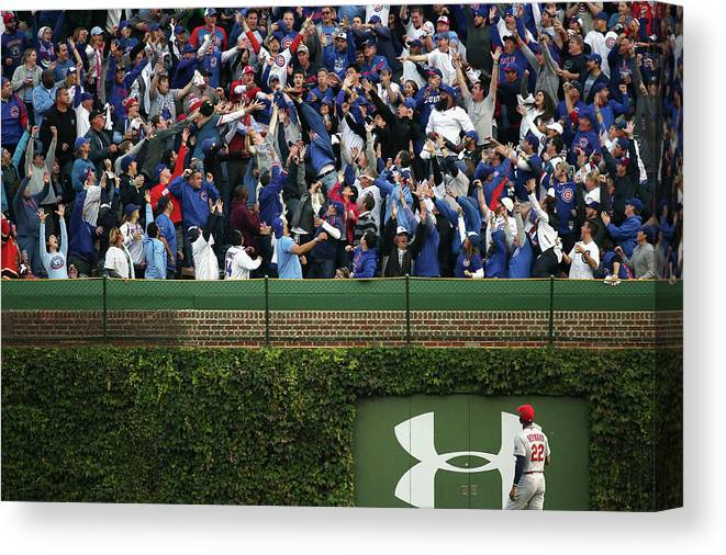 St. Louis Cardinals Canvas Print featuring the photograph Anthony Rizzo and Jason Heyward by Jonathan Daniel