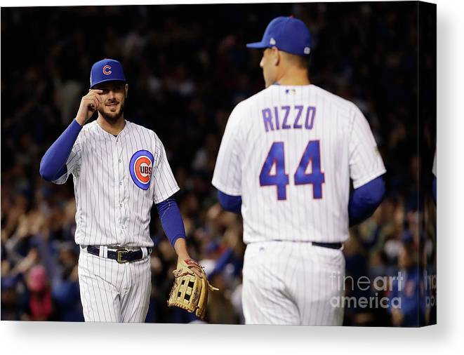 Three Quarter Length Canvas Print featuring the photograph Anthony Rizzo and Kris Bryant by Jamie Squire