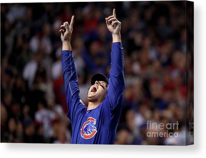 People Canvas Print featuring the photograph Anthony Rizzo and Miguel Montero by Ezra Shaw