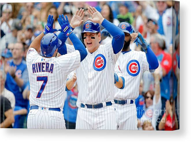 Second Inning Canvas Print featuring the photograph Anthony Rizzo and Rene Rivera by Jon Durr