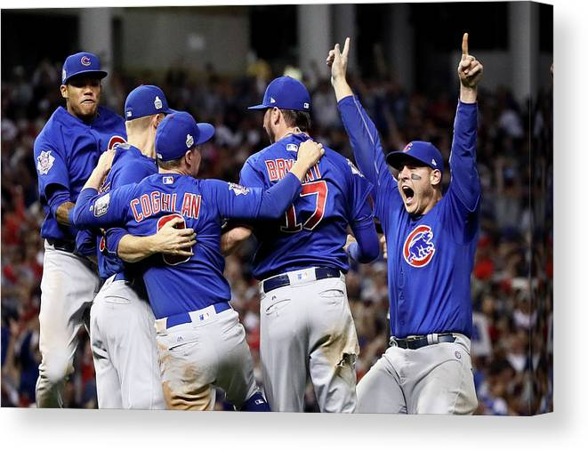 Three Quarter Length Canvas Print featuring the photograph Anthony Rizzo, Kris Bryant, and Chris Coghlan by Ezra Shaw