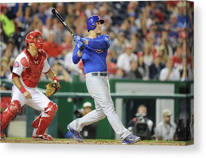 People Canvas Print featuring the photograph Anthony Rizzo by Mitchell Layton