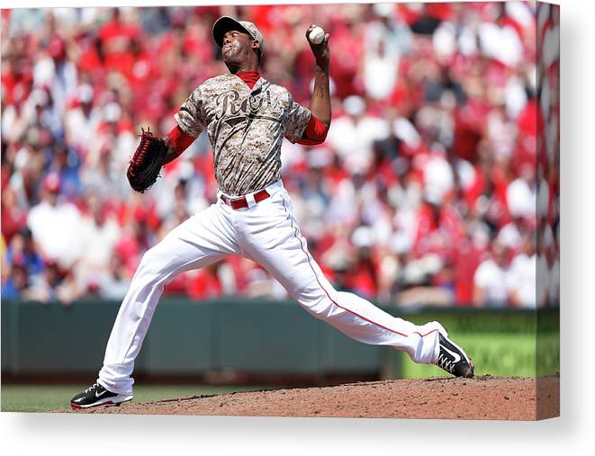 Great American Ball Park Canvas Print featuring the photograph Aroldis Chapman by Joe Robbins