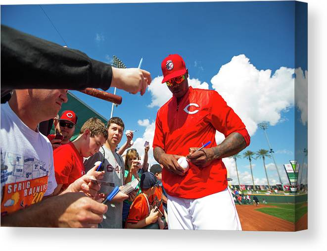 American League Baseball Canvas Print featuring the photograph Aroldis Chapman by Rob Tringali