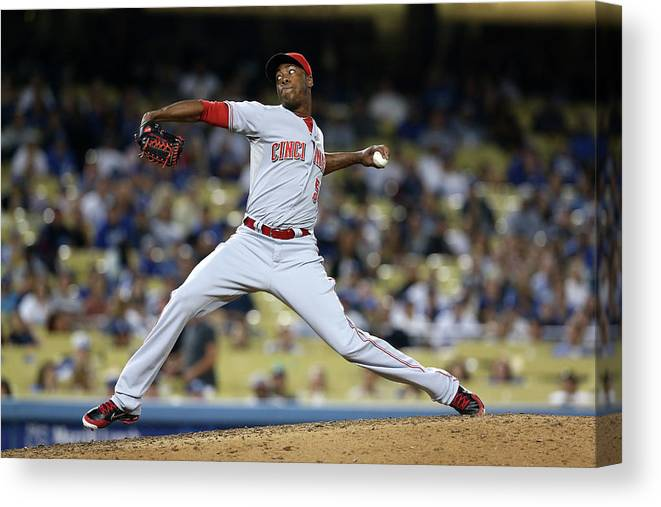 Ninth Inning Canvas Print featuring the photograph Aroldis Chapman by Stephen Dunn