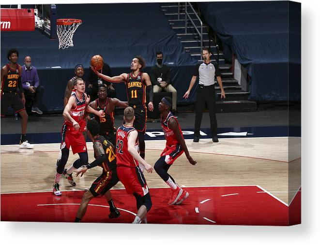 Nba Pro Basketball Canvas Print featuring the photograph Atlanta Hawks v Washington Wizards by Ned Dishman