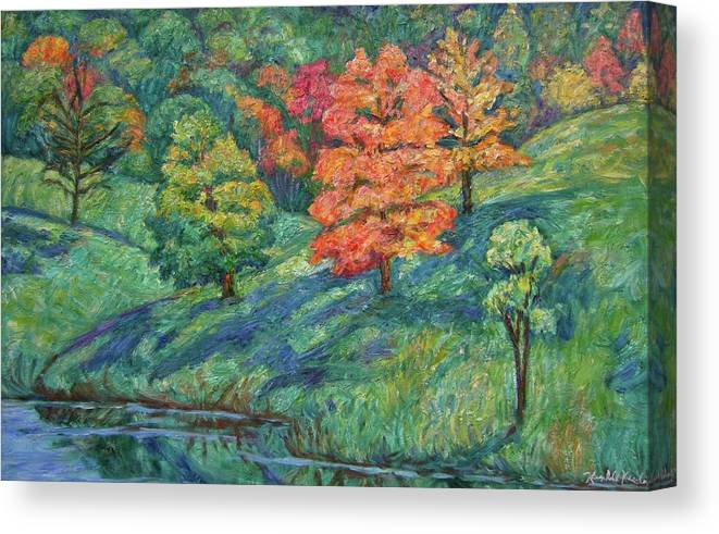 Landscape Canvas Print featuring the painting Autumn Pond by Kendall Kessler