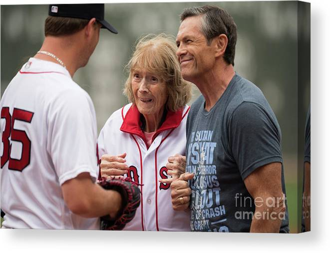 People Canvas Print featuring the photograph Babe Ruth and Steven Wright by Michael Ivins/boston Red Sox