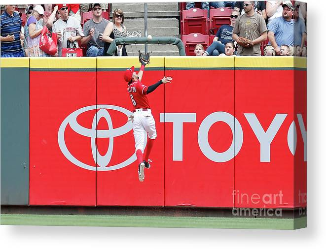 Great American Ball Park Canvas Print featuring the photograph Ben Revere and Billy Hamilton by Kirk Irwin