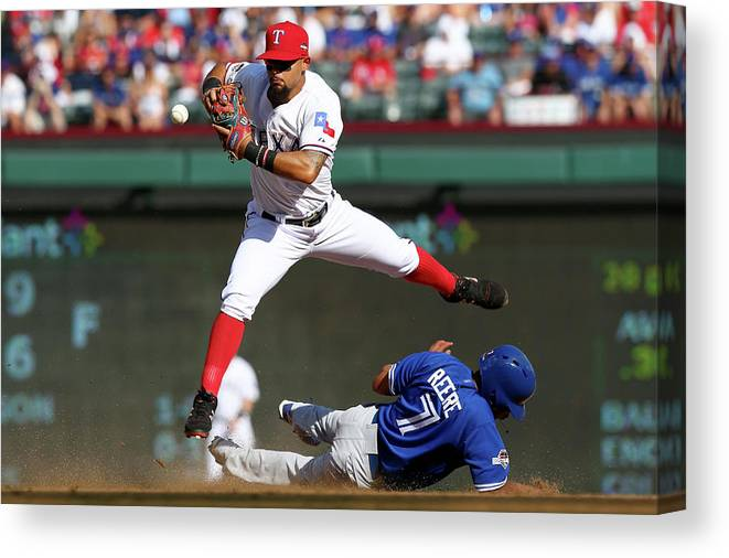 People Canvas Print featuring the photograph Ben Revere and Rougned Odor by Ronald Martinez