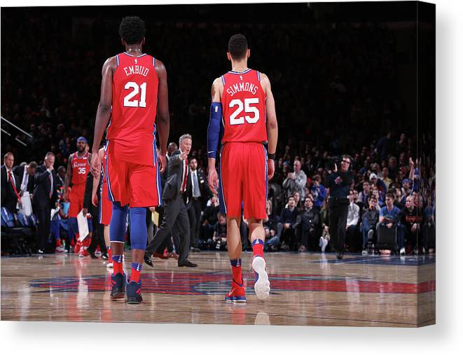 Nba Pro Basketball Canvas Print featuring the photograph Ben Simmons and Joel Embiid by Nathaniel S. Butler