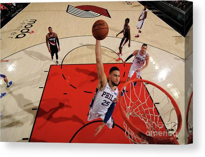 Nba Pro Basketball Canvas Print featuring the photograph Ben Simmons by Cameron Browne