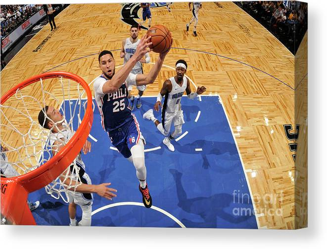 Nba Pro Basketball Canvas Print featuring the photograph Ben Simmons by Fernando Medina