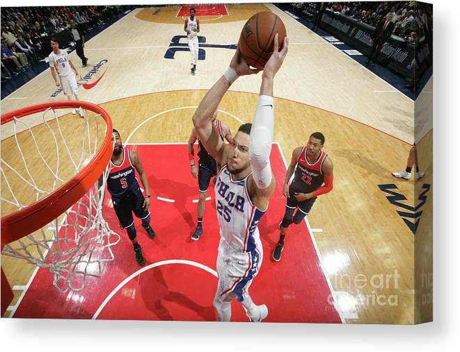 Nba Pro Basketball Canvas Print featuring the photograph Ben Simmons by Ned Dishman