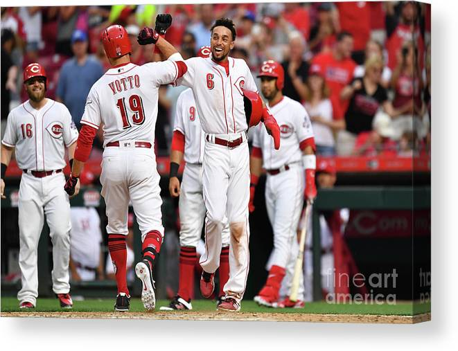 Great American Ball Park Canvas Print featuring the photograph Billy Hamilton and Joey Votto by Jamie Sabau