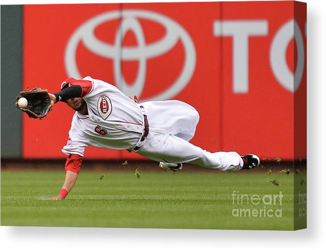 Great American Ball Park Canvas Print featuring the photograph Billy Hamilton and Starling Marte by Jamie Sabau