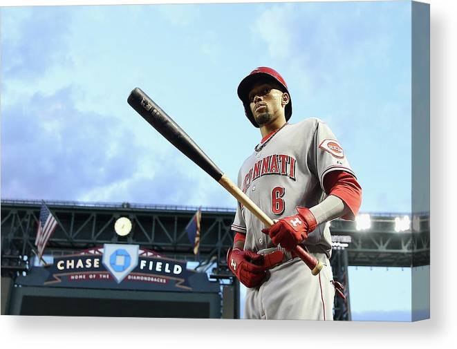 National League Baseball Canvas Print featuring the photograph Billy Hamilton by Christian Petersen